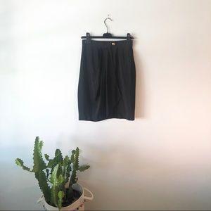 VINTAGE Black 100% Silk Skirt